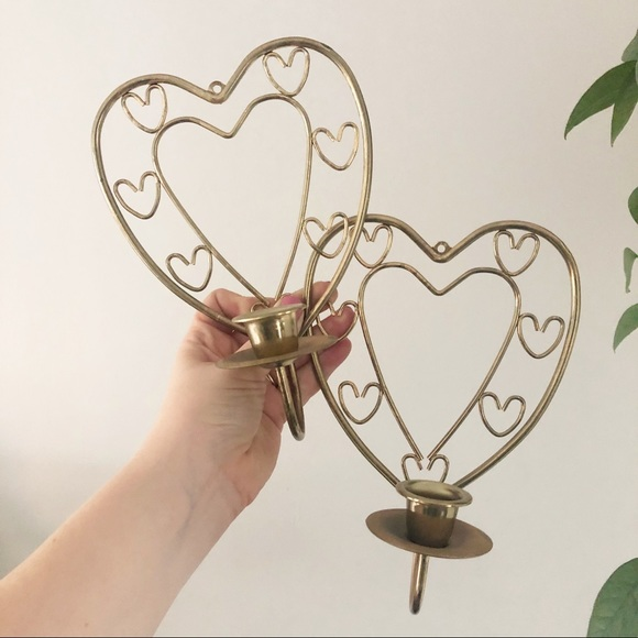 Gold Heart Candlestick Holder Set Boho Decor
